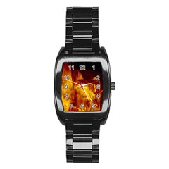 Ablaze Abstract Afire Aflame Blaze Stainless Steel Barrel Watch