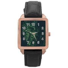 Abstract Art Background Biology Rose Gold Leather Watch
