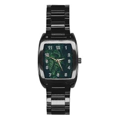 Abstract Art Background Biology Stainless Steel Barrel Watch