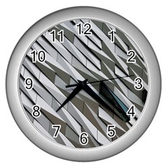 Abstract Background Geometry Block Wall Clocks (silver)