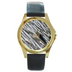 Abstract Background Geometry Block Round Gold Metal Watch