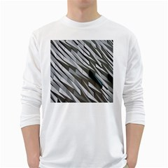 Abstract Background Geometry Block White Long Sleeve T Shirts