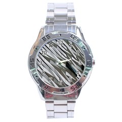 Abstract Background Geometry Block Stainless Steel Analogue Watch