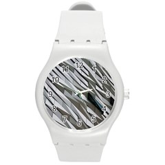 Abstract Background Geometry Block Round Plastic Sport Watch (m)
