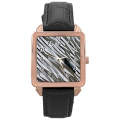 Abstract Background Geometry Block Rose Gold Leather Watch