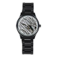 Abstract Background Geometry Block Stainless Steel Round Watch