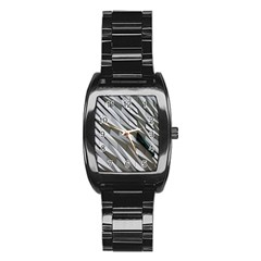 Abstract Background Geometry Block Stainless Steel Barrel Watch