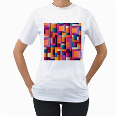 Abstract Background Geometry Blocks Women s T Shirt (white) (two Sided)