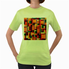 Abstract Background Geometry Blocks Women s Green T Shirt