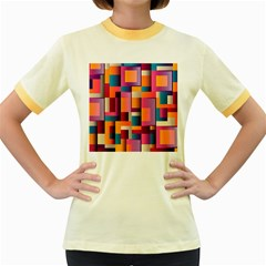 Abstract Background Geometry Blocks Women s Fitted Ringer T Shirts