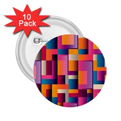 Abstract Background Geometry Blocks 2 25  Buttons (10 Pack)