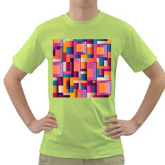 Abstract Background Geometry Blocks Green T Shirt