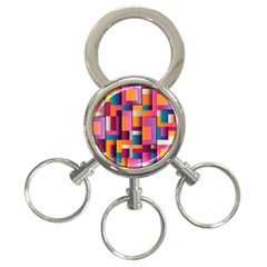 Abstract Background Geometry Blocks 3-Ring Key Chains
