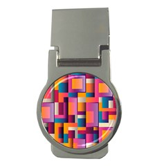 Abstract Background Geometry Blocks Money Clips (round)