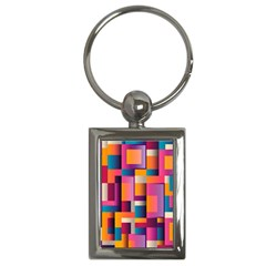 Abstract Background Geometry Blocks Key Chains (rectangle)