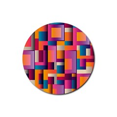 Abstract Background Geometry Blocks Rubber Round Coaster (4 Pack)
