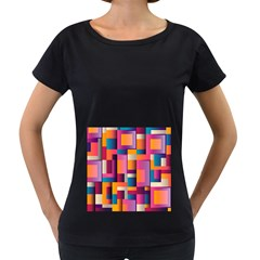 Abstract Background Geometry Blocks Women s Loose Fit T Shirt (black)