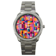 Abstract Background Geometry Blocks Sport Metal Watch