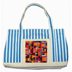 Abstract Background Geometry Blocks Striped Blue Tote Bag