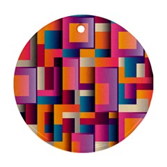 Abstract Background Geometry Blocks Round Ornament (two Sides)