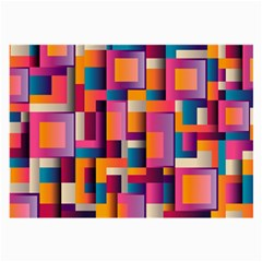 Abstract Background Geometry Blocks Large Glasses Cloth (2 Side)