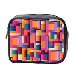Abstract Background Geometry Blocks Mini Toiletries Bag 2 Side