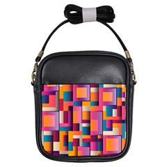 Abstract Background Geometry Blocks Girls Sling Bags
