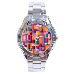 Abstract Background Geometry Blocks Stainless Steel Analogue Watch