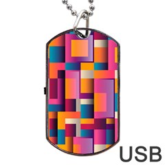 Abstract Background Geometry Blocks Dog Tag Usb Flash (two Sides)