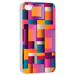 Abstract Background Geometry Blocks Apple Iphone 4/4s Seamless Case (white)