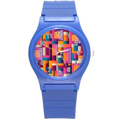 Abstract Background Geometry Blocks Round Plastic Sport Watch (s)