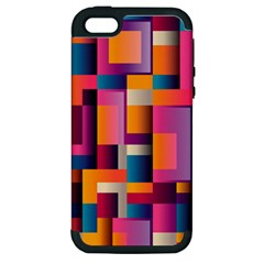 Abstract Background Geometry Blocks Apple Iphone 5 Hardshell Case (pc+silicone)