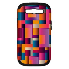 Abstract Background Geometry Blocks Samsung Galaxy S Iii Hardshell Case (pc+silicone)