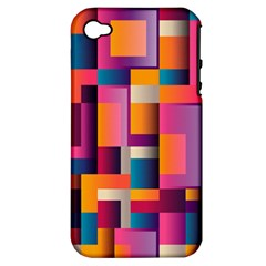 Abstract Background Geometry Blocks Apple Iphone 4/4s Hardshell Case (pc+silicone)