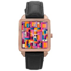 Abstract Background Geometry Blocks Rose Gold Leather Watch