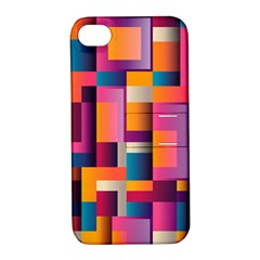 Abstract Background Geometry Blocks Apple Iphone 4/4s Hardshell Case With Stand
