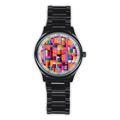 Abstract Background Geometry Blocks Stainless Steel Round Watch
