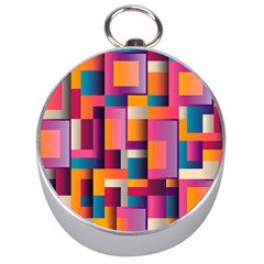 Abstract Background Geometry Blocks Silver Compasses