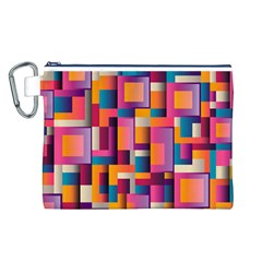 Abstract Background Geometry Blocks Canvas Cosmetic Bag (l)