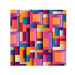Abstract Background Geometry Blocks Small Satin Scarf (square)