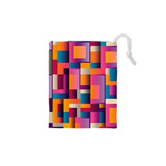 Abstract Background Geometry Blocks Drawstring Pouches (xs)