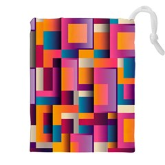 Abstract Background Geometry Blocks Drawstring Pouches (xxl)
