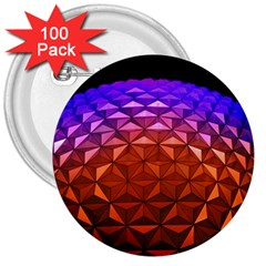 Abstract Ball Colorful Colors 3  Buttons (100 Pack)
