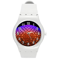 Abstract Ball Colorful Colors Round Plastic Sport Watch (m)