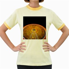Abstract Blur Bright Circular Women s Fitted Ringer T Shirts