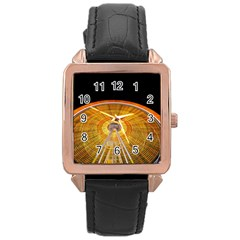 Abstract Blur Bright Circular Rose Gold Leather Watch