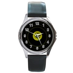 Abstract Futuristic Lights Dream Round Metal Watch