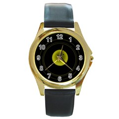 Abstract Futuristic Lights Dream Round Gold Metal Watch