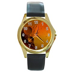Abstraction Color Closeup The Rays Round Gold Metal Watch
