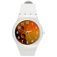 Abstraction Color Closeup The Rays Round Plastic Sport Watch (m)